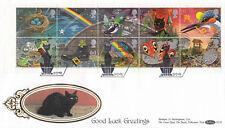 (12891) GB Benham FDC D158 Greetings Booklet Pane Wishford 5 Feb 1991 NO INSERT