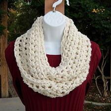 Cream INFINITY SCARF Solid Off White, Handmade Crochet Winter Circle Loop Cowl