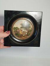 🔅 Ancienne Peinture tableau miniature paysage médaillon
