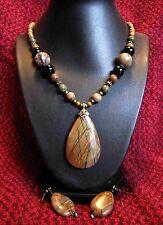 Excellent Markings! Natural PICASSO JASPER Gemstone Pendant Necklace Set