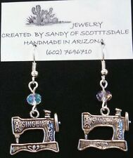 PRETTY SILVER SEWING MACHINE EARRINGS  with crystals by Sandy of Scottsdale
