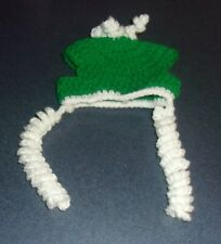 Brand New Crocheted Green White Dog Winter Hat For Cocker Spaniel Rescue Charity