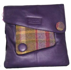 Mala Leather Abertweed  Purple Large Cross Body Leather Handbag Was £95.00
