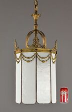 Bronze & Glass Period Antique Chandleier Lantern LARGE c1910 Vintage Gold Victor