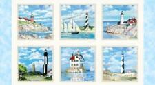 Lighthouse Nautical Ocean Scenes Cream Cotton Fabric Elizabeths Studio 24