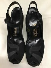 Vtg 40's Black Suede Womens 1940's Peep Toe Pin Up 8A Ankle Strap Swing Euc