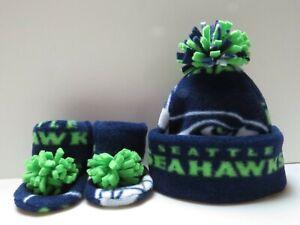 SEAHAWKS BABY HAT HANDMADE newborn BEANIE & BOOTIES FLEECE SET NFL SEATTLE