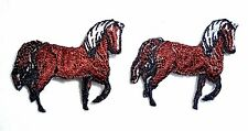 Lot of 2 Brown Horse Western Embroidered Iron On Patches White Mane