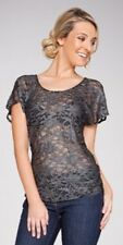 NEW UCW Sz 10-12 Glamorous Silver on Black STRETCH LACE Short Sleeve Top RRP $69