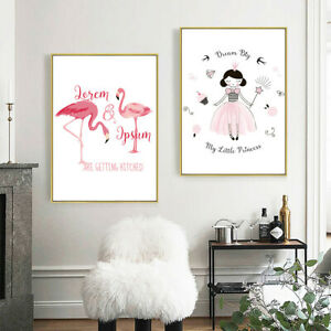 Flamingo Girl Hand Painted Canvas Poster Wall Hanging Home Art Decor Paintings