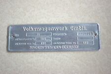 1960 Original VW Volkswagen VIN Name Plate Type 1 Beetle