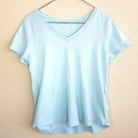 J. Jill Short Sleeve V Neck Tee Top Shirt Large Blue Pima Cotton Women's