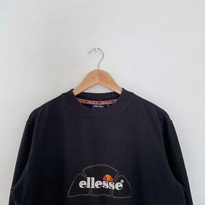 Vintage Ellesse Spellout Sweatshirt - Black - Size M