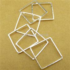13767 15PCS Copper Silver Square Geometric Pendant Connector Jewelry Making