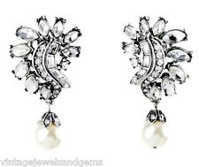 ART DECO WHITE PEARL BEADED CLEAR CRYSTAL RHINESTONE Silver Floral Clip Earrings