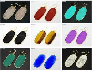 Natural Gemstone Sliced Reiki Chakra Oval Pendant Charms Gold Plated Earrings