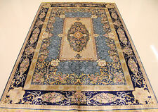 5.5'X8' Stunning Hand Knotted Silk Persian Rug Living Room Decor Navy Blue Brown