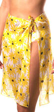 Gottex Yellow Floral Daisy Swimsuit Cover-up M 100% Silk Wrap Sarong Pareo New