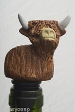 Angus Highland Cow Wine Saver Bottle Stopper Novelty Cake Decoration In Gift Box