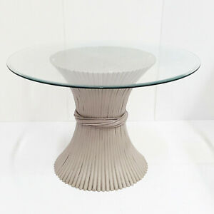 Table Lunch Round Vintage 1960 Sheaf of Wheat Bamboo For Mcguire 60S 1960S