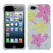 iPhone 5 5S SE Crystal Diamond BLING Hard Case Phone Cover Hibiscus Flower