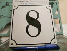 Hausnummer  Emaille Nr. 8 schwarze Zahl auf weißem Hintergrund 14cm x 14cm .....