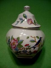 Vintage AYNSLEY PEMBROKE covered sugar bowl w/ colorful bird & flowers.18th cent