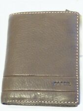"Brown Soft Leather Trifold Wallet with Coin Pocket by ""FOSSIL"" + Gift Bag"