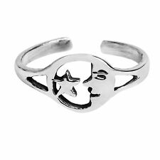 Silver Toe or Pinky Ring Goodnight Moon and Star Duo .925