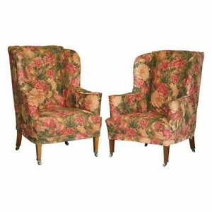 SUBLIME PAIR OF HOWARD & SON'S WILLIAM MORRIS WALNUT FRAMED WINGBACK ARMCHAIRs