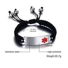 Free Engraving Medical Alert ID Men Women Braided Rope Bracelet Adjustable Band