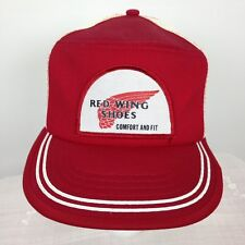 Vintage Red Wing Shoes Trucker Hat Cap Red White Mesh Snap Back 70s 80s Not Worn