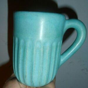"Art Pottery 4 3/4"" DESCANSO GREEN / BLUE mug unmarked"