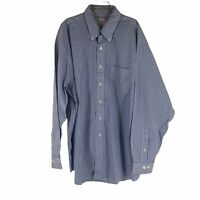 Brooks Brothers Mens XL Blue White Gingham Plaid Long Sleeve Button Front Shirt