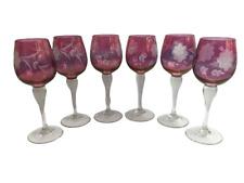More details for vintage set of 6 wine glasses goblets etched cranberry flash glass 18cm 7