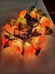 VINTAGE GLASS OLD WORLD PINK GLASS ROSES STRING OF 10 LIGHTS EUC