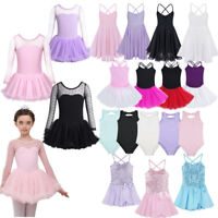 Kids Girls Gymnastics Ballet Leotard Dress Dancewear Ballerina Athletic Costume