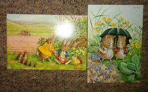 RACEY HELPS  X 2 MEDICI POSTCARDS P.V.150 RABBITS P.C. 1561 GUINEA PIGS DRESSED
