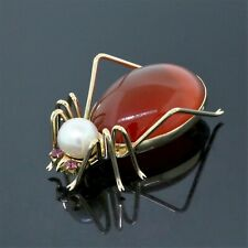 14K Yellow Gold Amber, White South Sea Pearl, and Ruby Spider Pin/Brooch
