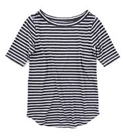 LOFT - Women's L - NWT$29 - Flecked Heather Navy Striped Cotton Tee