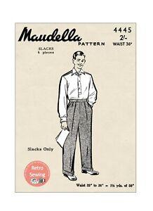 1940's Men's Flannel Trouser Vintage Sewing Pattern - Waist 36