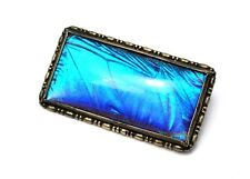 Art Deco Thomas Mott TLM sterling hallmarked Morpho butterfly wing brooch pin