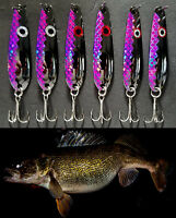 Black Nickel Purple Flash (6) Trolling Flutter Spoons Lake Erie Walleye Candy