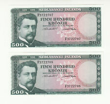 Iceland 2x 500 kronur 1961 AUNC/UNC @ low start