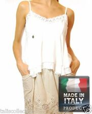 Rocio Sweetheart Neckline Lace Layered Hem Trim Cami Top - Made in Italy IA-0430