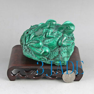 Natural Malachite Stone Frog Statue Gemstone Carving Sculpture Crystal Art