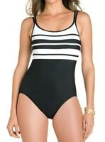 Miraclesuit Spectra Rigmarole Slimming Swimsuit One Piece 14 (Black/White) $152