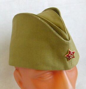 Soviet Russian Army Pilotka Cap Garrison Hat Red Star Badge Size 60 L Khaki New