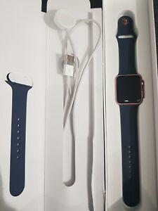 Apple Watch Series 1 42mm Rose Gold Aluminium Midnight Blue strap GOOD CONDITION