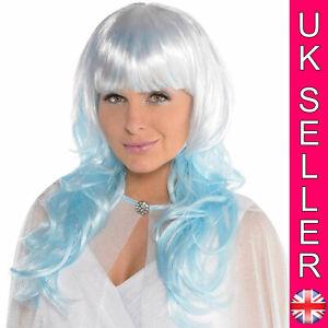 Ice Fairy Platinum Shimmer Wig Blue Queen Mermaid Dip Dye Ombre Fancy Dress Hair